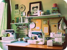 This is my tiny sewing space which is in the office me and the dear hubby share(for now)... I can't wait till I have the whole room to myself!    I'm running out of room!     Buy Sell online service that is affordable for crafters of all interest As low As 33 Cents a month Unlimited Ads  Advertise your Craft Projects Products or Supplies Purchase a Membership on www.mycraftersnest.com