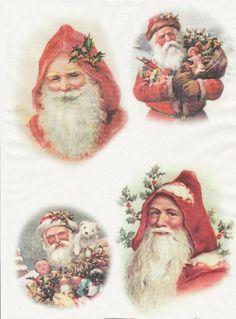 Rice Paper for Decoupage Decopatch Scrapbook Craft Sheet Vintage Working Santa 4