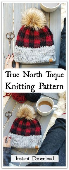The True North is the epitome of a Canadian toque. The buffalo plaid and faux fur pom combine to create the perfectly classic, yet modern hat. Instant PDF Download #ad #affiliate #knitting #pattern