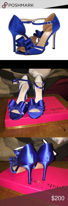 Kate Spade Ivela cobalt satin heels OR BEST OFFER. Beautiful heels! Worn for approx 3 hours at indoor wedding. In excellent condition. These are so beautiful and comfortable! True to size. Cobalt satin heels. 3 inch heels. Bought for $275. Will come with original box and dust bag also! kate spade Shoes Heels