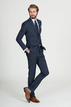 The Steel Blue Texture Suit - Barkers