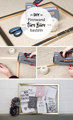 Selbst gemachte Pinnwand mit Fäden und Bilder… DIY pin board for the office. Homemade pinboard with threads and picture frame. DIY office equipment and order. Memo Boards, Cadre Photo Diy, Marco Diy, Coffee Room, Crafts For Kids, Diy Crafts, Diy Pins, Diy Desk, Wood Projects