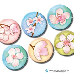 Cherry Blossom 1 inch circles Spring flowers Digital by InkFive, $4.20
