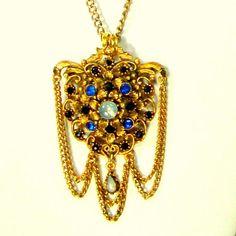 FLORENZA Military Style Gold Jeweled CREST Pendant w Draped