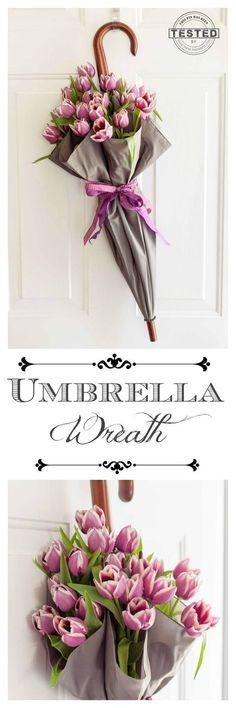DIY Umbrella Spring Wreath Tutorial via This Grandma Is Fun - This Umbrella Wreath is easy to make. Great tip for using fresh flowers!