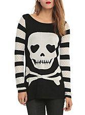Jawbreaker Striped Skull Girls Sweater, , hi-res