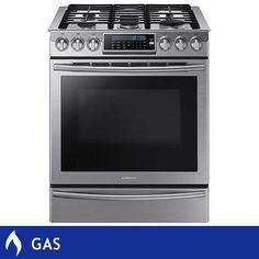 Samsung 5.8CuFt GAS Slide-in Stainless Steel Range with True Convection in Stainless Steel