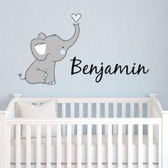 Elephant Nursery Wall Decor custom elephant name wall decal for girls - baby room decor