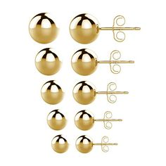 UHIBROS 316L Surgical Stainless Steel Round Ball Studs Earrings 5 Pair Set Assorted Sizes Gold ** Want additional info? Click on the image.-It is an affiliate link to Amazon.
