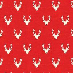 Scandi 3 Christmas Holiday Nordic Design Makower UK Fabric Scandinavian Reindeer Stags Heads Rudolph on Red