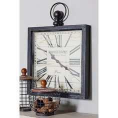 The DecMode Vintage Metal Wall Clock - 28 diam. looks like an old pocket watch with a square shape and unique finial and ring at the top that helps. Farmhouse Wall Clocks, Farmhouse Decor, Country Decor, Rustic Decor, Farmhouse Style, Wall Clock Online, Clock Wall, Wall Art, Distressed Walls