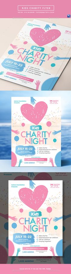 Kids Charity Flyer Design Template  - Miscellaneous Events Flyer Design Template PSD. Download here: https://graphicriver.net/item/kids-charity-flyer/19341815?ref=yinkira