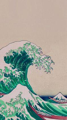 Bright Green Great Wave Of Kanagawa Wallpaper