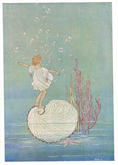 1921 Ida Rentoul Outhwaite (Australian illustrator, 1888-1960) ~ 'Anne Rides on a Nautlis Shell'