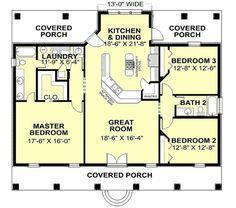 Country Style House Plans - 1640 Square Foot Home , 1 Story, 3 Bedroom and 2 Bat. - House Plans, Home Plan Designs, Floor Plans and Blueprints The Plan, How To Plan, Plan Plan, Country Style House Plans, Country Style Homes, Southern Style, Southern Women, Southern Living, House Plans And More