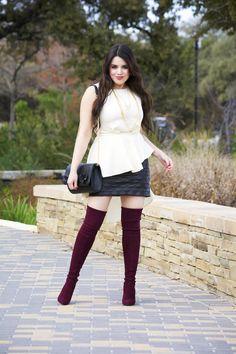 Waterfall Style Top Meets Faux Leather Skirt | ( Lavish Alice, Stuart Weitzman, Highland boots, otk boots, burgundy boots, Parklane Jewelry )