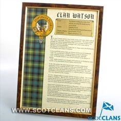Watson Clan History Print
