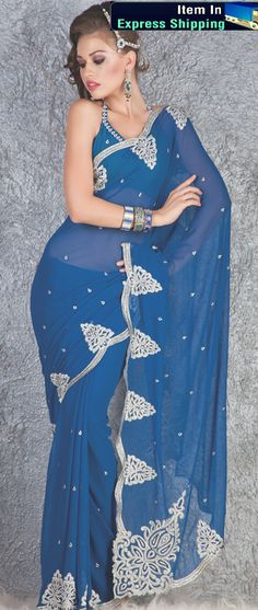 Saree is crafted with Resham,Sequins And patch work . Length of sarees with attached blouse pc. is mtrs. Costume/Outfit - Saree with Blouse piece. Latest Indian Saree, Indian Sarees Online, Buy Sarees Online, Lehenga Style Saree, Blue Saree, Sari, Beautiful Long Dresses, Latest Designer Sarees, Georgette Sarees