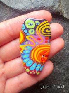 jasmin french ' lollipop ' lampwork focal bead by jasminfrench