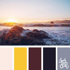 Sunset color inspiration   Click for more color combinations inspired by beautiful landscapes and other coloring inspiration at http://sarahrenaeclark.com   Colour palettes, colour schemes, color therapy, mood board, color hue