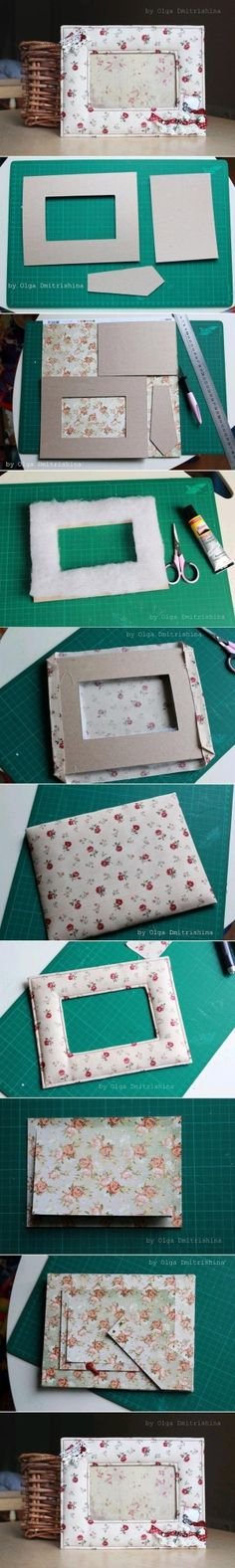 Picture frame from cardboard and fabric.