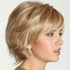 Real Human Hair Wig Short Side Bang Virgin Remy Mono Top Capless