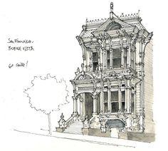 San Francisco, Buena Vista by gerard michel Building Illustration, Illustration Art, Urban Sketchers, Sketchbook Inspiration, Architecture Drawings, Urban Art, Drawing Sketches, Line Art, Concept Art