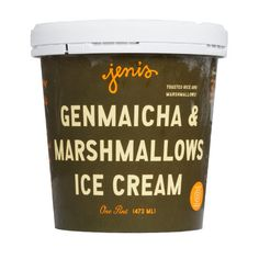 Tastes like a crispy rice treat!  To make Genmaicha & Marshmallows, Jeni started with her favorite tea: genmaicha, a green tea made with toasted rice. When genmaicha is steeped in cream, the resulting soft green ice cream tastes nutty and slightly tannic from the tea, and has this wonderful toasted rice scent. To give the flavor dimension, without overwhelming the nuance of the toasted rice, we add vanilla bean marshmallows, handmade in our kitchen. They give the exotic-sounding Genmaicha…