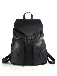 A versatile yet classic black leather backpack from Armani will take you from day to night!