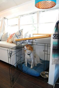 House Tour: A Cute Home in a Small Blue School Bus   Apartment Therapy