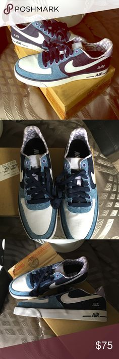 Nike Air - never worn NikeID shoes Size 6 men shoes/8 woman, never worn CUSTOM sneaker - has wrap alive logo (pictured) -- blue & purple, still in box !  Price negotiable, trying to get rid of ASAP Nike Shoes Sneakers
