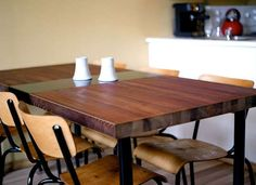 This table is actually made from an upcycled door. What a cool idea for the dining room or a dine-in kitchen.