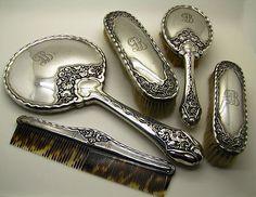 Antique Silver Vanity Set Bruckman Söhne Jugendstil Art Nouveau Mirror Brush | eBay