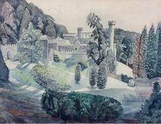 #Edward #Bawden: #Caerhays #Castle, #Cornwall The Stable Yard  framed  #Signed  #Pencil and #watercolour #art #modernart #landscape #Britishart #llfa