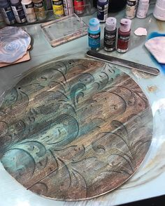 Would make a pretty clock – Holzarbeiten Paint Furniture, Furniture Projects, Wood Projects, Fabric Painting, Painting On Wood, Painted Milk Cans, Wood Crafts, Diy And Crafts, Homemade Art