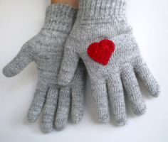 Gray Gloves with Red Hearts, Valentines Day. $24.00, via Etsy.