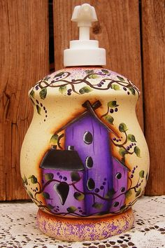 Hand Painted Upcycled Birdhouse Soap or Lotion Dispenser