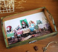 Alice in Wonderland Mad tea party wooden serving tray