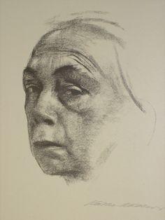 Kathe Kollwitz, self portrait, Volume like Picasso's drawing (a study) of Gertrude Stein.