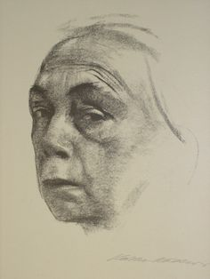 Kathe Kollwitz, self portrait, Volume like Picasso's drawing (a study) of Gertrude Stein.