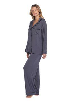 Barefoot Dreams Graphite Luxe Milk Jersey Piped Pajama Set Barefoot Dreams, Graphite, Pajama Set, Milk, Coat, Shopping, Fashion, Graffiti, Moda