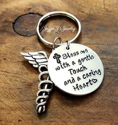 Nurses Prayer with Caduceus Charm Keychain, Bless me with a gentle touch and a caring heart keychain, Medical Staff Appreciation, Nurse Gift by JazzieJsJewelry on Etsy