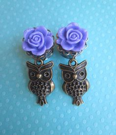Purple Open Flower Plugs with Owl Charm Danglies - Handmade Girly Gauges - by WhimsyByKrista on Etsy, $25.00