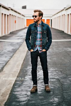 Washed Slim-fit Denim Jacket (American Eagle) Blue Plaid Shirt(J. Crew) Regular-Fit Jeans(American Eagle) with field Boots (Carl Wingtip) and a pair of sunglasses created a settled weekend look Outfit Jeans, Stylish Men, Men Casual, Denim Look, Herren Outfit, Denim Jacket Men, Sharp Dressed Man, Denim Fashion, Male Fashion