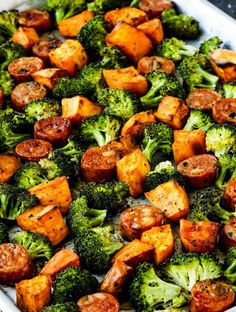Roasted Sweet Potatoes, Sausage, and Broccoli Sheet Pan Meal is delicious and this is unbelievably easy for a fall dinner! meals for husband Roasted Sweet Potatoes, Sausage, and Broccoli Sheet Pan Meal – Kalyn's Kitchen Pre Cooked Chicken, Baked Chicken, Grilled Chicken, Leftovers Recipes, Healthy Dinner Recipes, Sweet Potato Recipes Healthy, Clean Eating, Healthy Eating, Cabbage And Sausage
