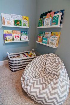 Kids corner reading nook for the rec room. Kids Corner, Reading Corner Kids, Cozy Corner, Reading Room, Playroom Design, Playroom Decor, Boys Playroom Ideas, Playroom For Toddlers, Play Room For Kids