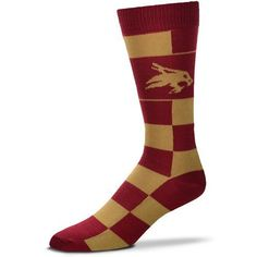For Bare Feet Texas State University Jumbo Checkered Crew Dress Socks (Red Dark, Size One Size) - NCAA Licensed Product, NCAA Novelty at Academy Sp...