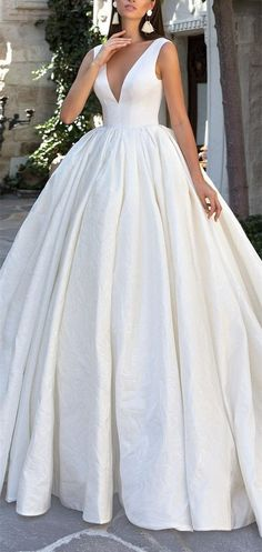 Simple Wedding Dress,A-Line Wedding Dresses,V-neck Bridal Dresses,Satin Ball Gown