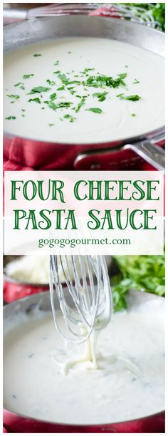 Try out this crazy-easy, uber creamy Italian Four Cheese Pasta Sauce!