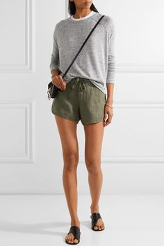 James Perse - Dolphin Linen Shorts - Army green -